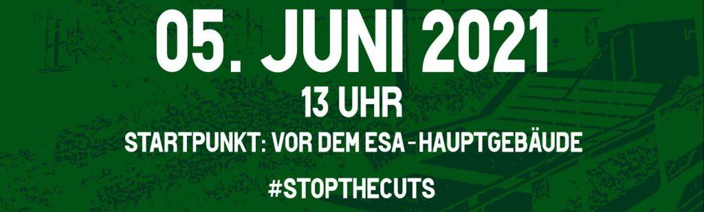 Plakat zum Demoaufruf: #stopthecuts am 05. Juni um 13 Uhr
